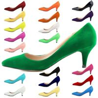 Womens Low Mid Court Shoes Ladies Formal Kitten Heels Office Ballet Pumps Size