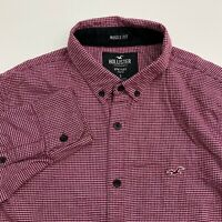 Hollister Button Up Shirt Mens Small Epic Flex Red Check Long Sleeve Casual