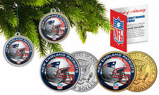 NEW ENGLAND PATRIOTS Colorize JFK Half Dollar 2-Coin Set NFL Christmas Ornaments