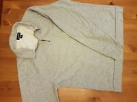 LANDS' END GRAY 3/4 ZIP FITNESS TOP Size M