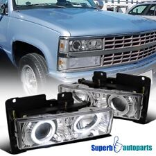 For 1988-1998 Chevy Silverado LED Dual Halo Projector Headlights Lamps