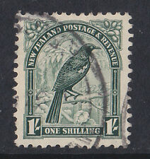 NEW ZEALAND 1936-42 1/- DEEP GREEN PERF 12½ SG 588b FINE USED.