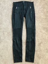 Hudson Waxed Black Stark Motto Pant Stretch Jeans Size 25