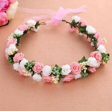 Flower Wreath Crown, Flowergirl, Wedding, Party,  Head Garland Pink White/Ivory