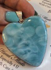 HUGE Amazing   handcrafted HEART AAA Larimar  Pendant 925 silver # V