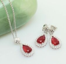 Red Crystal Cubic Zirconia Jewellery Set, Necklace-Earrings Bridal Set