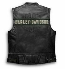 Harley Davidson Men's Genuine Leather Black Biker Vest Jacket Cafe Racer