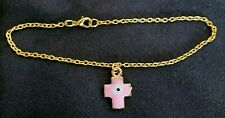 Gold Tone and Pink evil eye cross anklet