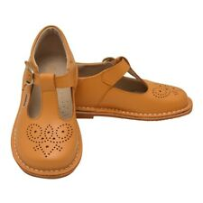 L'Amour Girls Mustard T-Strap Perforated Stitch Down Leather Shoes 11-4 Kids