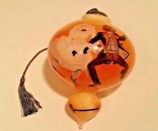 "Reverse Painted Glass Ornament Black Americana Wedding Scene ""Jumping the Broom"""