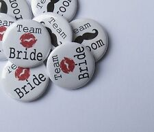 "20 x Team Bride Kiss Groom Moustache 1"" Favour Badges Hen Party Stag Do Wedding"