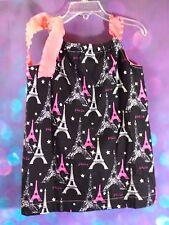 Pillow Case Style Baby Toddler Girl Dress 2T Paris Eiffel Tower Black White Pink