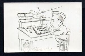 "WW2 1941 HAND DRAWN CHRISTMAS CARD ""HAPPY BLINKING CHRISTMAS"""