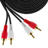 2 RCA Male to 2 RCA Male Cable 6ft 12ft 25ft 50ft Audio Stereo 2RCA DVD HDTV US