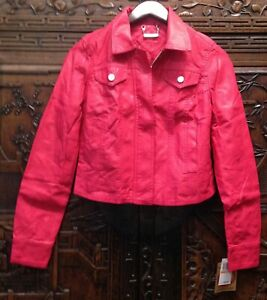New Jou Jou Junior Faux Leather Cher Jacket, Red, Small