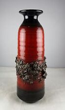 "Mid -Century Modern Art Pottery 8"" Oxblood Red Lava Rock Vase"