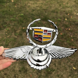 3D Chrome Car Front Hood Stand Ornament Cadillac Wing Emblem for XTS SRX CT6 CT4