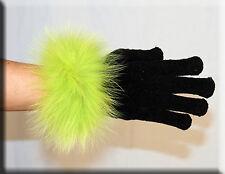 New Black Chenille Gloves Lime Green Fox Fur Trim - Efurs4less