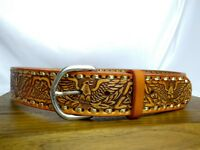Western Biker Rugged Casual Belt Eagle Tooled Leather Brown Med - Large 32 34 36