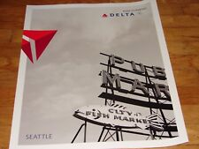 SEATTLE - DELTA AIR LINES LARGE POSTER 28 x 22 - NEW - BLACK AND WHITE