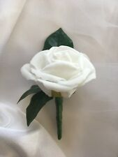1x Artificial Grooms Or Groomsmens White Rose Wedding Bridal Flower Buttonhole
