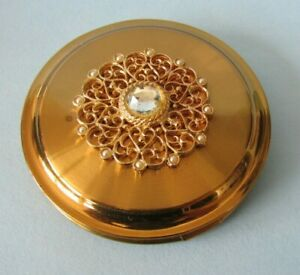 FAB VINTAGE BEAUTIFUL GOLD TONE STRATTON OF LONDON COSMETIC COMPACT + COVER