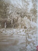 OLD EARLY PHOTO AUSTRALIAN ABORIGINAL FISHING WITH SPEAR QUEENSLAND  AUSTRALIA