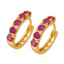 Women's Fashion Huggie Shiny 9K Gold Filled Simulated Ruby Hoop Earrings