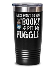 Puggle Avid Book Reader 20oz Tumbler Travel Mug Funny Dog Mom Gift