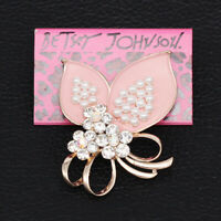 Betsey Johnson Pink Enamel Crystal Pearl Bowknot Charm Brooch Pin Jewelry Gift