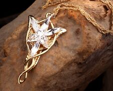 New Nice LOTR Yellow Gold Plated Arwen Evenstar Crystal Necklace Pendant HJ65