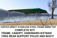 "NEW GREEN VORTEX STAINLESS STEEL FRAME BIMINI TOP 8 FT LONG, 97-103"" WIDE"