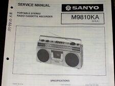 Sanyo M9810Ka Radio Cassette Recorder Service Manual