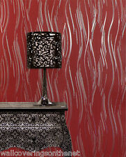 NEW Red and Silver With Glitter, Modern Design, Blown Vinyl Wallpaper