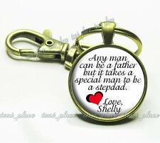 Special Stepdad Glass Top Key Chain Stepfather Personalized Father's Day Gift