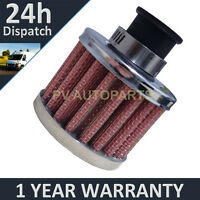 9mm AIR OIL CRANK CASE BREATHER FILTER MOTORCYCLE QUAD CAR RED & CHROME ROUND