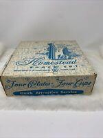 Federal Glass Homestead Hospitality Snack Set Wheat Pattern Set of 4 Vintage