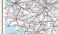 Nantes Saumur Potiers Niort Vendée 1906 carte ch-fer (partie) orig. Cholet Lucon