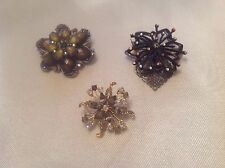 Flower Shaped Rhinestones Gemstones Silver Lot of 3 Ladies Pins Brooches