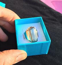 AQUAMARIN Ring Silber roseverg. 20x9 mm Handarbeit tolle intensive Farbqualität