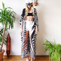 Damen Sommer Lang Cardigan Longshirt Strand Mantel Bikini Cover Up Strandkleid