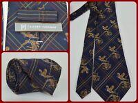 "Hickey Freeman Blue Plaid Woven Water Fowl Sporting Luxury Neck Tie 60"" Long USA"