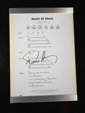 Framed Deborah Harry 6.5 x 10 Original heart Of Glass Lyrics Signed Original