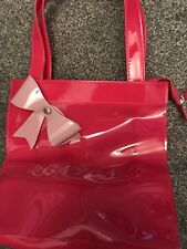 London Pink Plastic Tote Bag With Zip Fastening Excellent Condition Bow Detail