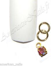 Piercing anneau bijou d'Ongle Strass SWAROVSKI Light Rose AB 2,5mm Nail Art