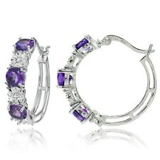 Sterling Silver Round African Amethyst and Diamond Accent Hoop Earrings