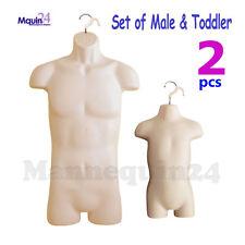 Male & Toddler Mannequin Torso Set - Flesh Men & Kids Plastic Dress Forms