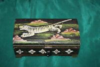 Vintage Hand Painted Wood Trinket Box-Small-Painted Tigers-Tribal Folk Art