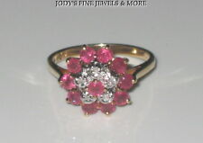 SPECTACULAR ESTATE 10K YELLOW GOLD RED RUBY & DIAMOND LADIES RING SIZE 6