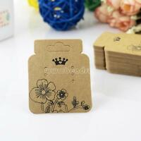 100Pcs Kraft Paper Jewelry Earring Ear Studs Hanging Display Holder Hang Cards